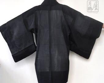 Sheer Kimono Jacket/Vintage Japansese Haori/Authentic Light Summer Short Kimono Robe/Black Haori/Kimono Caridigan/Boho Jacket/Bohemian