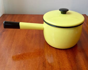 Swedish mid century enamel pot with lid in yellow from Kockums, Sweden perfect for your retro kitchen
