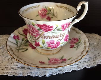 Vintage January Cup and Saucer with Carnations Golden Crown Bouquet from England