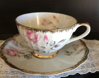 Vintage Japan Floral Cup and Saucer with Roses  Gold Trim