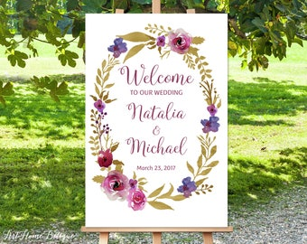 Welcome Wedding Sign, Gold and Purple Welcome Wedding Sign, Large Welcome Sign, Gold Wedding Signs Printable, Printable Welcome Sign, W-51