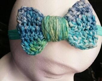 Handmade, crochet turquoise, blue and green bow Headband