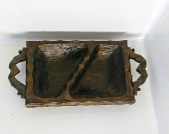 Rustic Wooden Hand Carved Handled two Compartment Rectangular Bowl