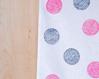 Pink & Blue Circle cotton tea towel