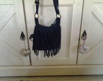 Black Suede with fringe shoulder bag