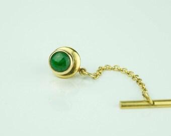 14k Yellow Gold Green Jade Tie Tack Pin