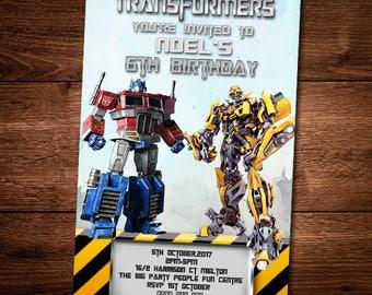 Transformers Birthday invitation Card, Bumble Bee, Optimus Prime, Customized Birthday Theme, Birthday Invite, Card Template Digital Download