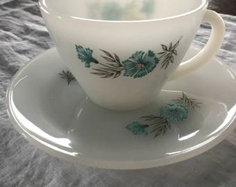 Bonnie Blue vintage Anchor Hocking Fire King milk sauce cup and saucer set of 7