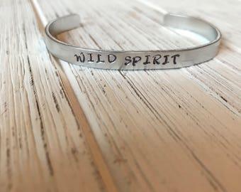 Wild spirit cuff bracelet | bangle | stamped cuff