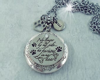 Custom No Longer By My Side But Forever In My Heart Pet Memorial Locket w-Your Photo, Cat Memorial, Dog Memorial, Keychain Option Available