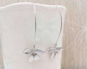 Silver Orchid Long Dangle Earrings, Matte Silver Orchid Flower Drop and Dangle Earrings, Wedding Party Bridal Bridesmaid Mom Gift For Her