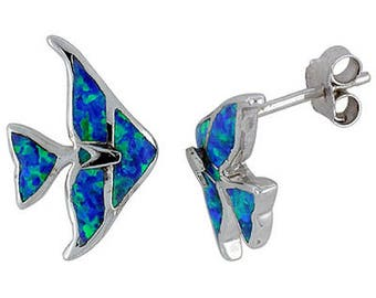 Sterling Silver Blue Opal Fish Stud Earrings