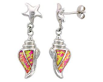 Sterling Silver Pink Opal Conch Dangle Earrings