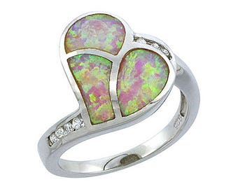 Sterling Silver Pink Opal Heart Statement Ring