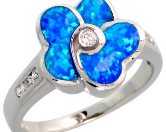 Sterling Silver Blue Opal Flower Ring CZ Accent