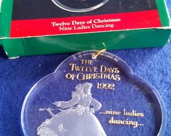 Hallmark The Twelve Days Of Christmas 1992 Nine Ladies Dancing Acrylic Ornament/Hallmark Keepsake Collector's Series Ornament