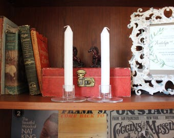 Vintage candle holders with candle sticks included (set of 2)