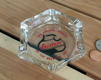 vintage Falstaff beer advertisement ashtray, hexagonal Falstaff ashtray,The Choicest Product of the Brewer's Art, Falstaff beer collectible