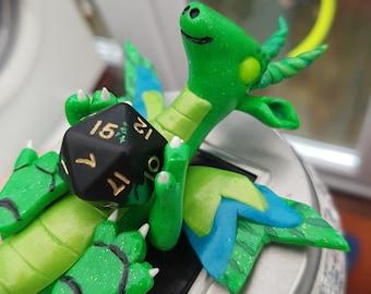 Green D20 dice dragon