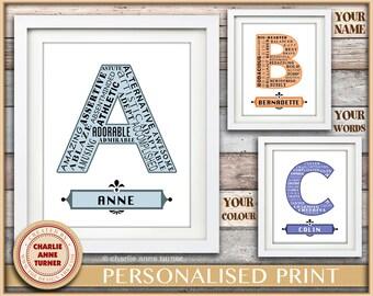 A CUSTOM ORDER for 8x10 printable download Art Print. Personalised Monogram Initial letter. Kids nursery or bedroom print gift.