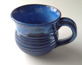 Bright Blue Ribbed Pattern Ceramic Mug, 11 oz. Unique