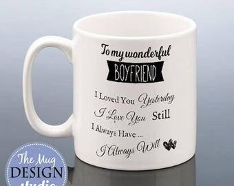 To My Wonderful BOYFRIEND MUG I Love You Christmas Gift Birthday Gift  Engagement Mug Thank You