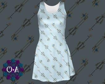 Oathkeeper Keyblade Dress - Skater Dress Kingdom Hearts Dress Cosplay Dress Comicon Dress Plus Size Dress Sora Dress Keyblade Dress