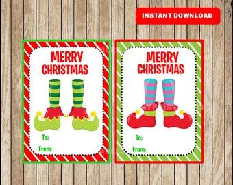 Printable Christmas Gift Tags - Christmas Favor Tags - Christmas present tags - Elf tags - Instant Download