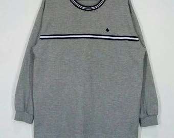 Rare!! POLO British Country spirit sweatshirt nice design pull over jumper crew neck grey colour large size