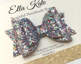 Glitter hair bow, glitter bow headband, glitter hair clip, girls bow headband, silver hair bow, pink hair bow, girls headband, blue bows