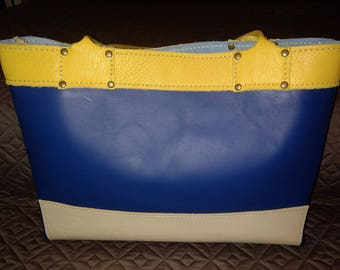 Three Color Leather Tote