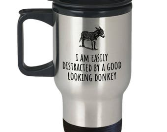 Donkey Lover Gift - Donkey Farm Present - Donkey Dairy Travel Mug - Gift For Donkey Farmer - Good Looking Donkey