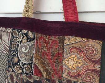 Patchwork tote in velvet and tapestry -Batooli  Bags