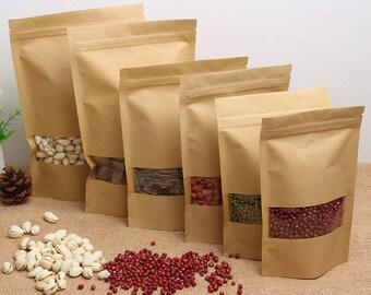 14*20*4cm 100pcs Kraft window ziplock wolfberry fruit food self-sealed bags tea  bag Window