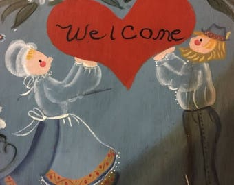CLEARANCE Vintage Hand Painted Welcome Sigh featuring an Amish looking couple and flowers
