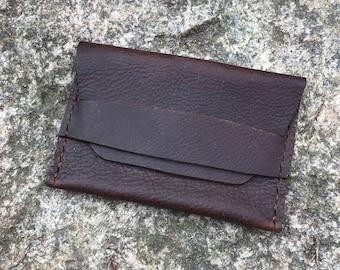 Brown Kodiak Oil Tanned Leather Strap Wallet Card Case