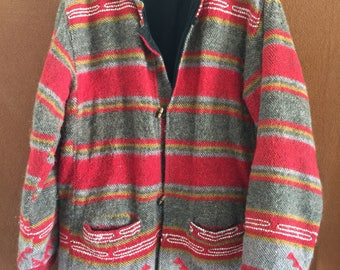 Vintage Native American print wool coat