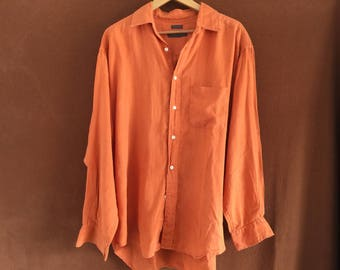 Vintage burnt orange linen men's shirt