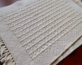 Handwoven Placemats Pair Hand Woven Place Mats 2 Cream Off White Huck Lace Cotton