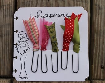 Planner Clips, Planner accessories, Happy Planner clips,green & pink , Diary accessories, Ribbon Planner Clip, Bible journaling, SET OF 5