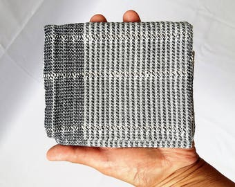 utensil pouch hand woven cotton two interior pockets black-white, small bag folded in japanese style cotton hand woven 14,5cm x 12,5cm