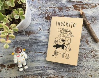 Pack Indomitable, Notepad recycled paper, natural wood pencil, square plate, sticker//Original Gift