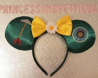 Robin Hood and Maid Marian Inspired Mouse Ears Headband and Bow