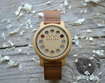 Wood Watch by S O N D E R. Mens Wood Watch, Authentic Wooden Watches for Men. A Modernist Gents Watch.(Pre-order 6 Weeks)