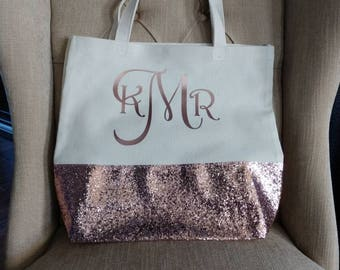 Monogrammed Canvas Glitter Tote, Personalized Tote, Rose Gold Tote, Glitter Tote