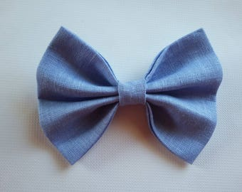 Light blue linen DOGbowtie for doggy summer outfit owner matched