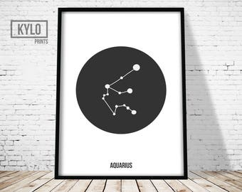 Aquarius Zodiac Constellation Print, Astrology Wall Art, Minimalist Modern Geometric Poster, Aquarius Printable, Scandinavian, Home Decor