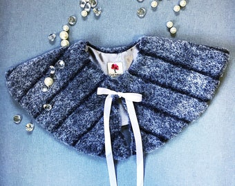 Baby girl's grey faux fur poncho, grey faux fur cape, special occasion faux fur shoulder cover, girl's grey faux fur poncho, fur cape