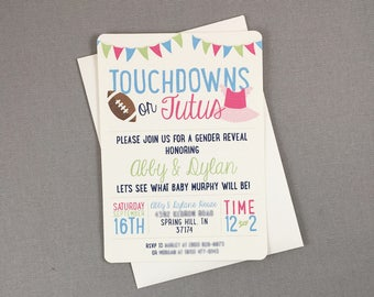 Touchdowns or Tutus Gender Reveal 5x7 Invitation