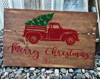 Merry Christmas Vintage Truck Sign - Custom Vintage Truck Sign - Christmas Tree Decor - Old Pickup Sign - Rustic - Christmas